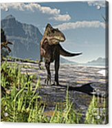 An Acrocanthosaurus Roams An Early Acrylic Print by Arthur Dorety