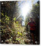 An Adult Woman Trail Running Acrylic Print
