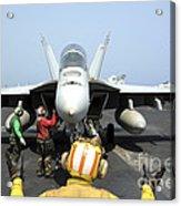An Aircraft Director Signals Acrylic Print by Stocktrek Images