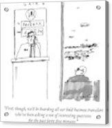 An Airport Gate Agent Makes An Announcement Acrylic Print