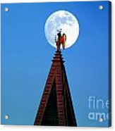 An Angel And The Camponile With The Moon Acrylic Print