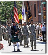 An Army Battalion Marching In The 200th Anniversary St. Patrick Old Cathedral Parade Acrylic Print