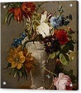 An Arrangement With Flowers Acrylic Print by Georgius Jacobus Johannes van Os