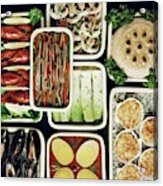 An Assortment Of Food In Containers Acrylic Print