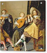 An Elegant Company Playing Music In An Acrylic Print by Dirck Hals