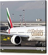 An Emirates Boeing 777 At Milano Acrylic Print