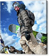 An Extreme Snowboarder Stands Acrylic Print