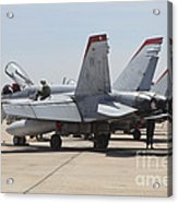An Fa-18c Hornet Being Readied Acrylic Print
