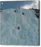 An Ice Climber In The Middle Acrylic Print