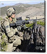 An Infantryman Provides Overwatch Acrylic Print
