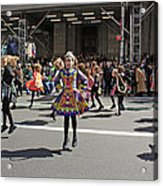 An Irish Dance Group Flying High While Dancing At The 2009 St. Patrick Day Parade Acrylic Print