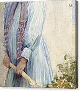 An Italian Peasant Girl Acrylic Print by Ada M Shrimpton
