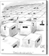 An Office  Full Of Locked Boxes With Eyes Looking Acrylic Print