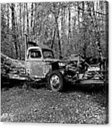 An Old Logging Boom Truck In Black And White Acrylic Print