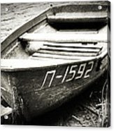 An Old Row Boat In Black And White Acrylic Print