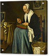 An Old Woman Seated Sewing Acrylic Print