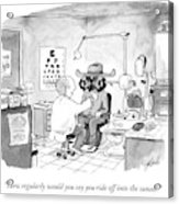 An Optometrist Examines A Cowboy Acrylic Print