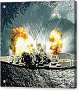 An Overhead View Of The Battleship Uss Iowa Bb61 Firing All 15 Of Its Guns Acrylic Print