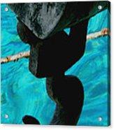 Ancher In Water Santorini Greece Acrylic Print