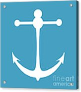Anchor In White And Turquoise Blue Acrylic Print