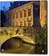 Ancient Bridge In Bruges  Acrylic Print