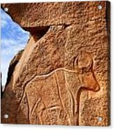 Ancient Engraving Of A Buffalo At The Wadi Matkhandouch In Libya Acrylic Print