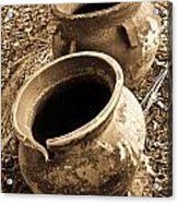 Ancient Pottery In Sepia Acrylic Print