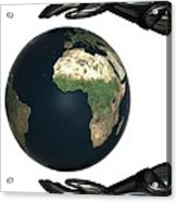 Android Hands Keep Earth Globe Safe On White Background Acrylic Print