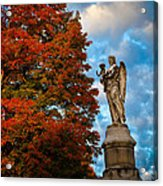 Angel And Boy In Foliage Scenery Acrylic Print