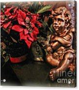 Angel And Poinsettia Acrylic Print