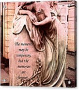 Angel Art - Memorial Angel Weeping Sorrow At Grave With Inspirational Message - Memories Are Forever Acrylic Print