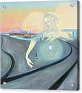 Angel Bringing Light To Meditating Woman At The Train Tracks Acrylic Print