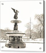 Angel Of The Waters - Central Park - Winter Acrylic Print