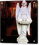 Angel Statue Offers Holy Water Acrylic Print