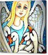 Angel Sheltering Seven Swans Acrylic Print