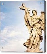 Angel With The Cross In Ponte St Angelo  Acrylic Print