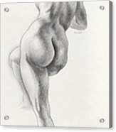Angelina In 5b Standing Nude Leaning Onto An Art-studio Pedestal Laughing Softly Acrylic Print
