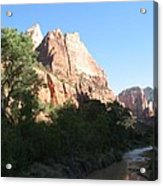 Angels Landing And Virgin River - Zion Np Acrylic Print