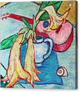Angel's Trumpet Flowers And A Ukulele Acrylic Print