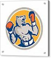 Angry Bear Boxer Gloves Circle Retro Acrylic Print