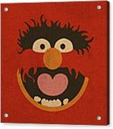 Animal Muppet Vintage Minimalistic Illustration On Worn Distressed Canvas Series No 008 Acrylic Print