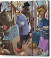 Animals On A Tube Train Subway Commute To Work Acrylic Print