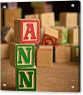 Ann - Alphabet Blocks Acrylic Print