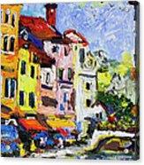 Annecy France Canal And Bistros Impressionism Knife Oil Painting Acrylic Print