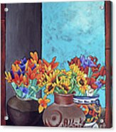 Annie's Flowers Acrylic Print by Yvonne Gillengerten