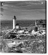 Annisquam Lighthouse Black And White Acrylic Print