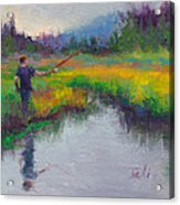 Another Cast - Fishing In Alaskan Stream Acrylic Print