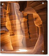 Antelope Canyon Gorgeous Lightbeam Acrylic Print