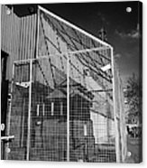anti rpg cage surrounding observation sanger at North Queen Street PSNI police station Belfast North Acrylic Print