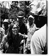 Anti-viet Nam War Protestor Confronting Smoking Marine Pro-war March Tucson Arizona 1970  Acrylic Print